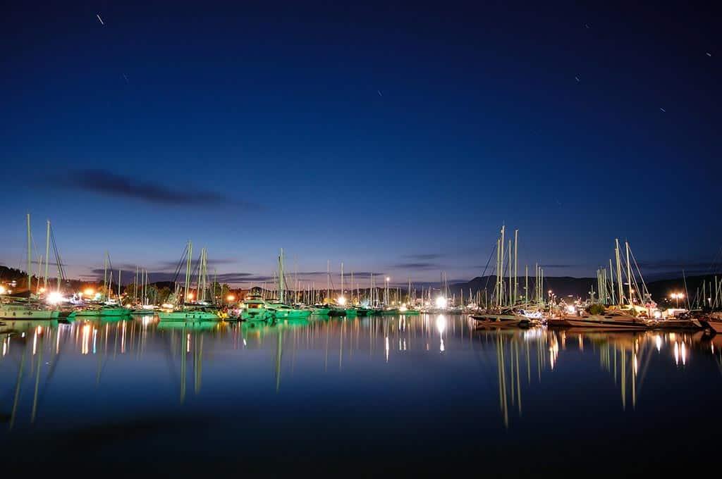 Gouvia Marina at night